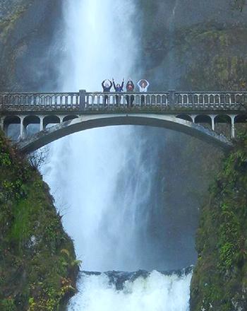 O-H-I-O at Multnomah Falls in Oregon